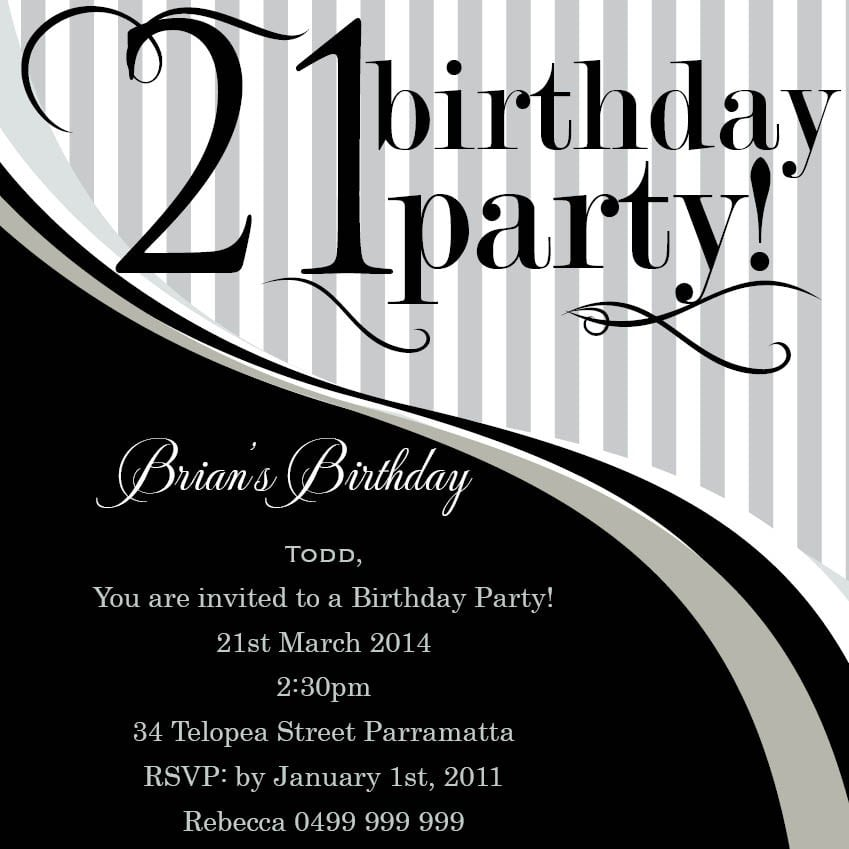 21 Birthday Invitations Free