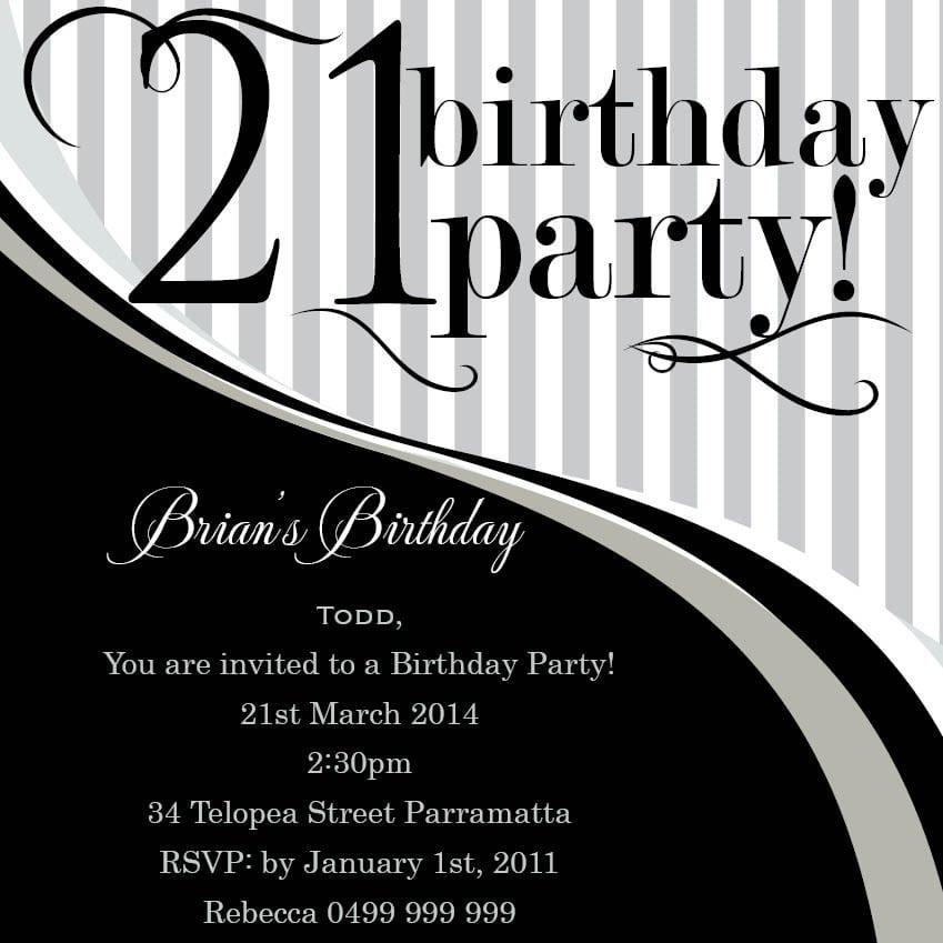 21st Invitation Ideas Free