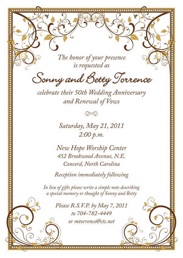 50th Wedding Anniversary Invitation Template