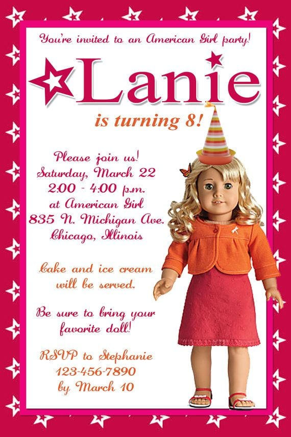 American Girl Birthday Invitation Pritables