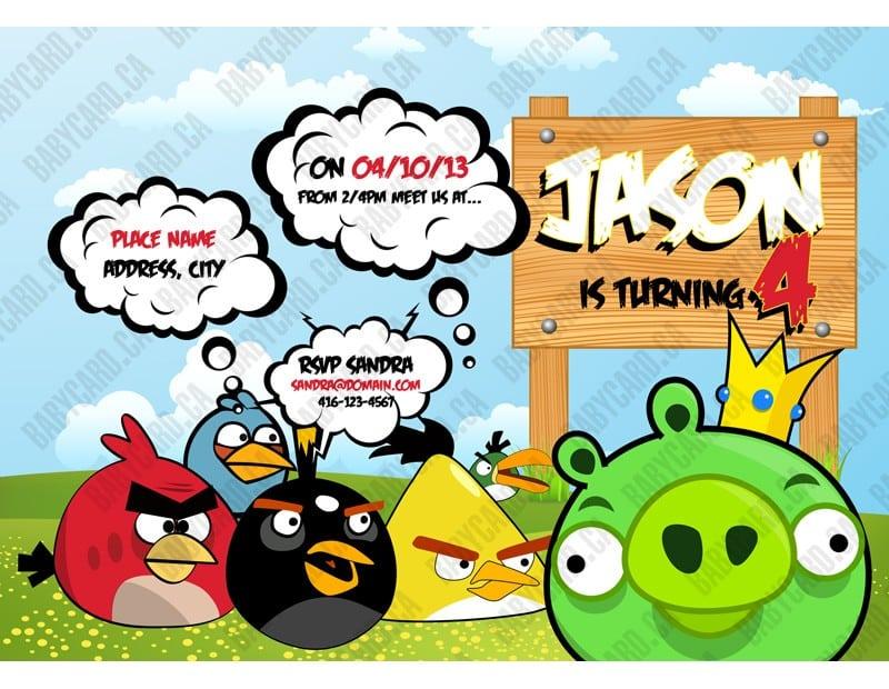 Angry Birds Birthday Invitation Cards