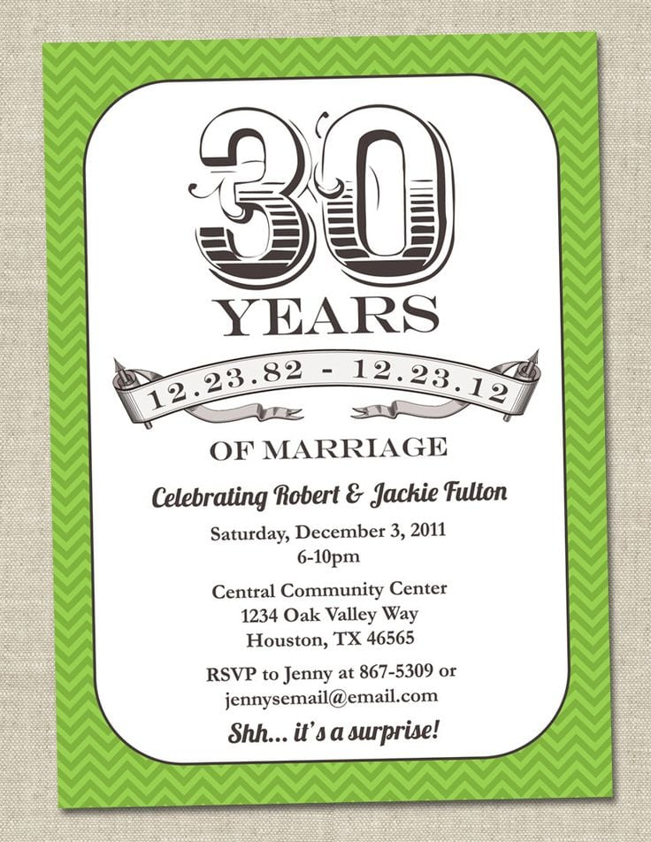 Anniversary Party Invitations Etsy