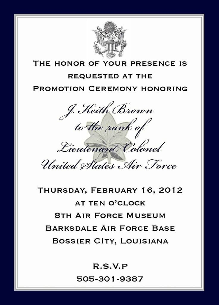 Army Promotion Invitation Template