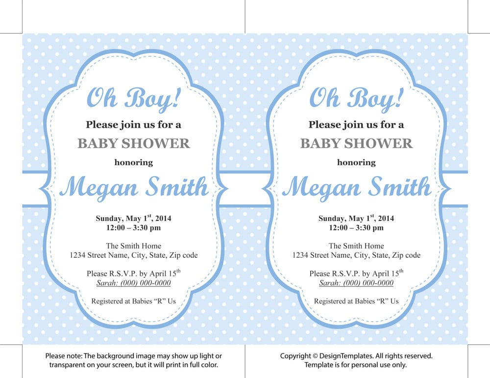 Baby shower templates for word