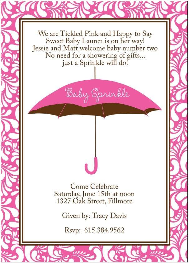 Baby Sprinkle Invitations For Girl