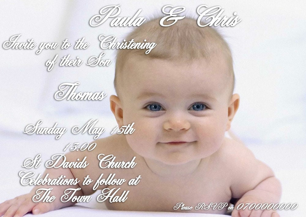 Baptism Invitation For Boys