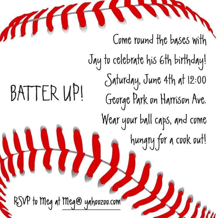 Baseball Birthday Invitation Wording