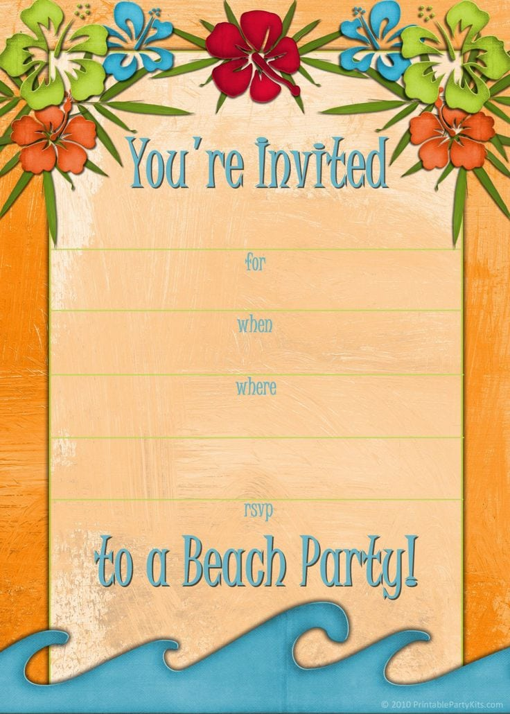Beach Party Invitation Template Free