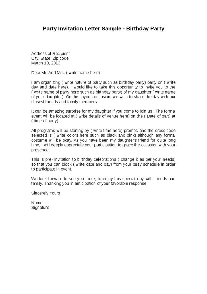 Birthday Invitation Sample Letter