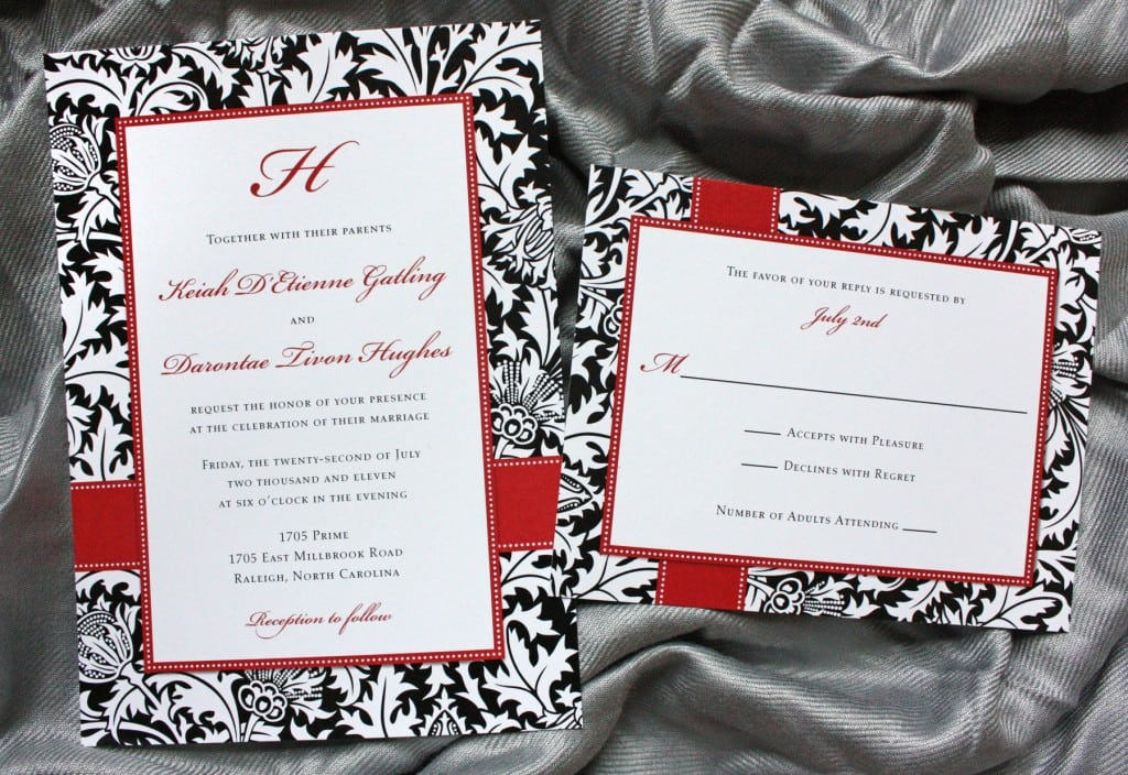 Black White And Red Damask Wedding Invitations
