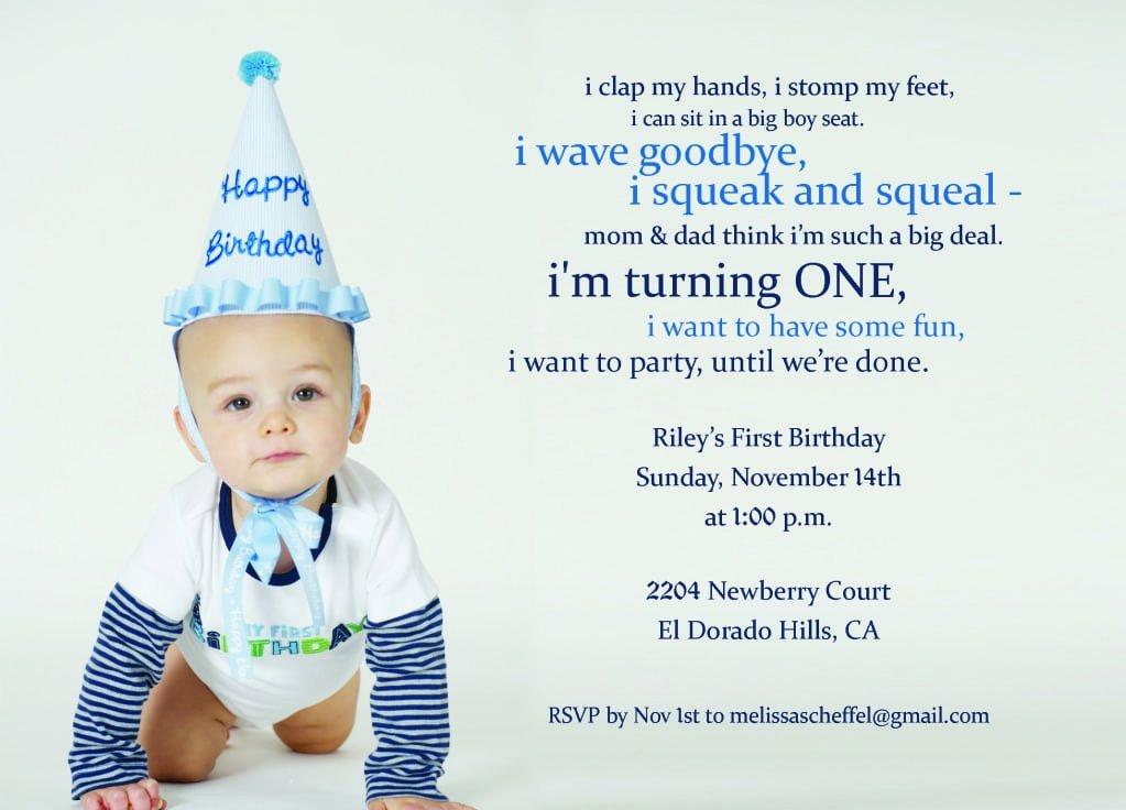 Boy First Birthday Invitation Poem