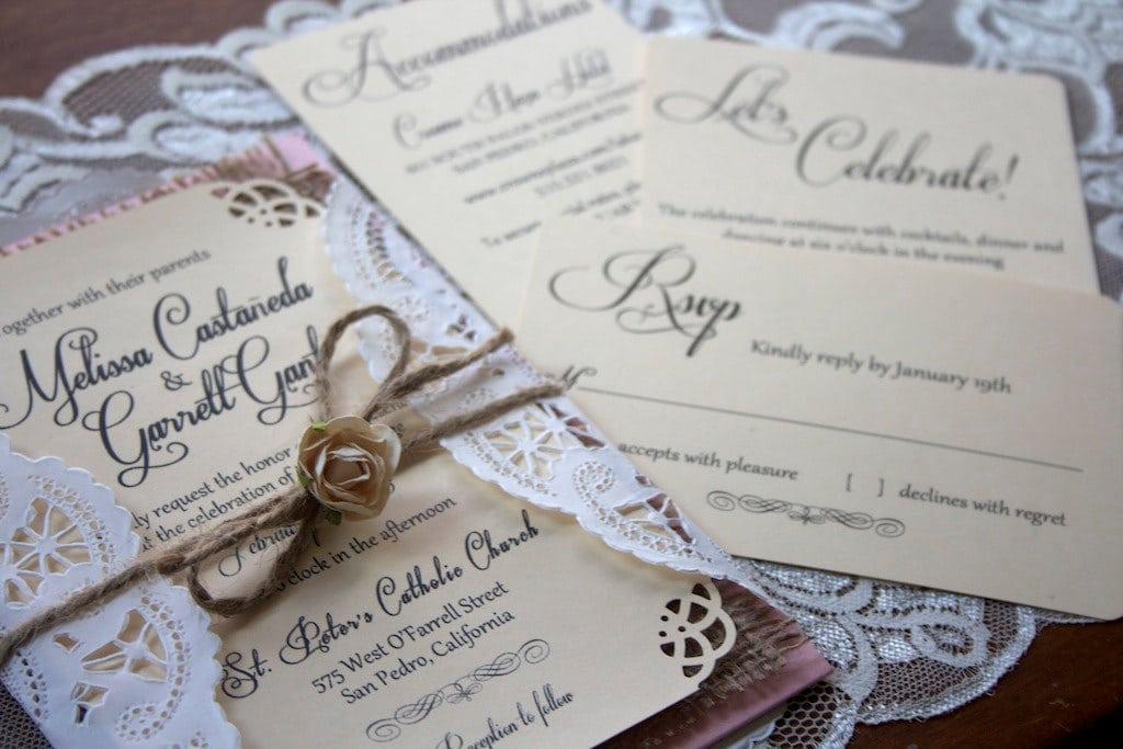 Burlap And Lace Wedding Invitation