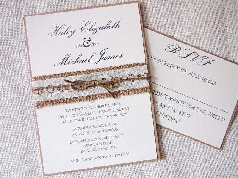 Burlap And Lace Wedding Invitation Sets