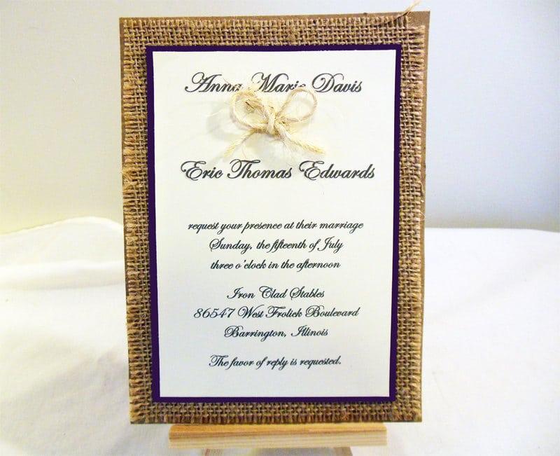 Burlap Wedding Invitations Kits
