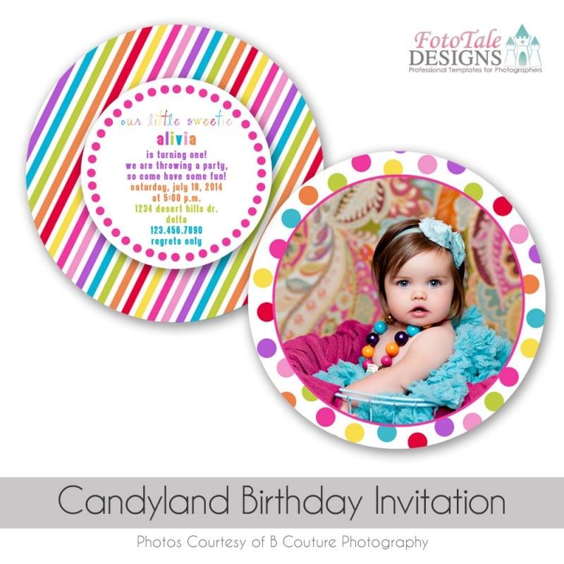 Candyland Birthday Invitation Templates