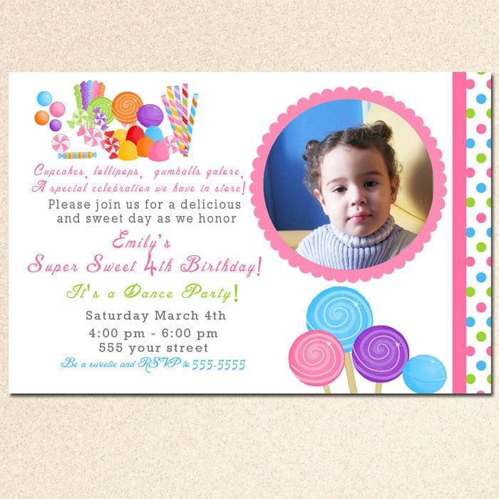 Candyland Birthday Invitations Printable