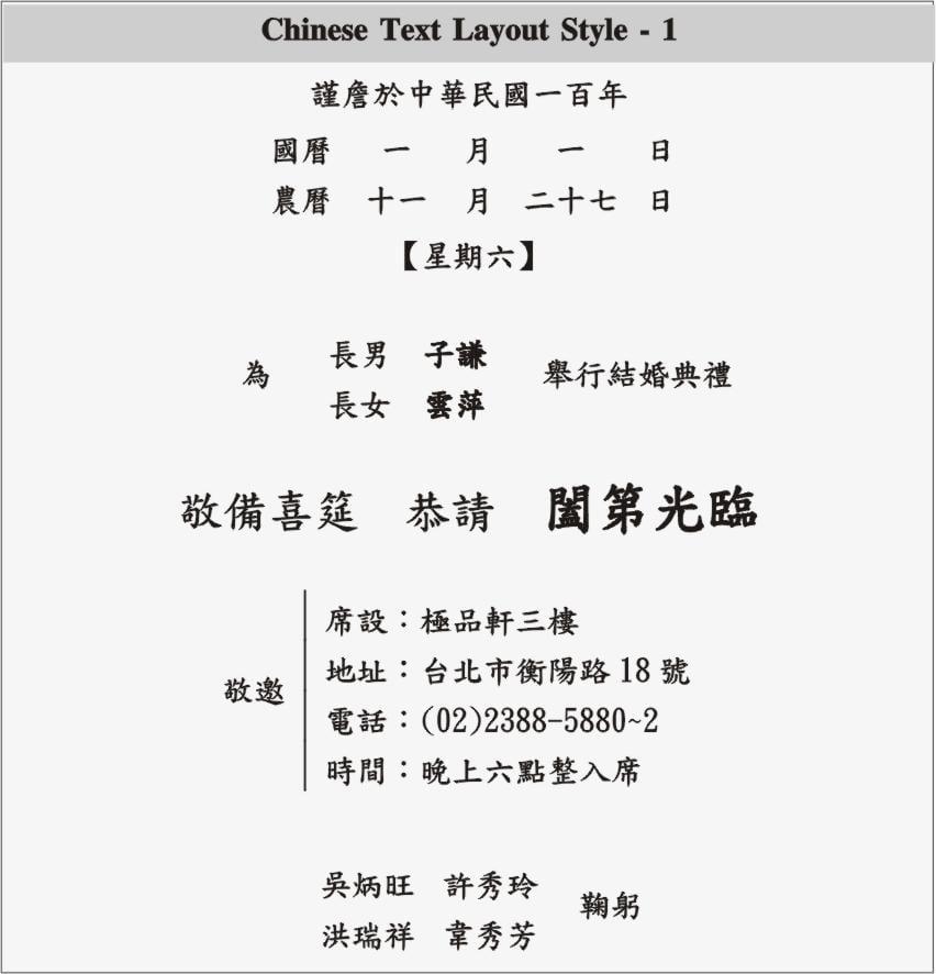 Chinese Wedding Invitation Wording