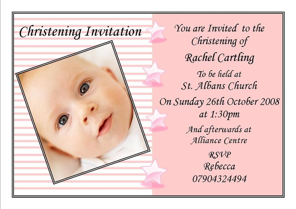 christening invitation layout free