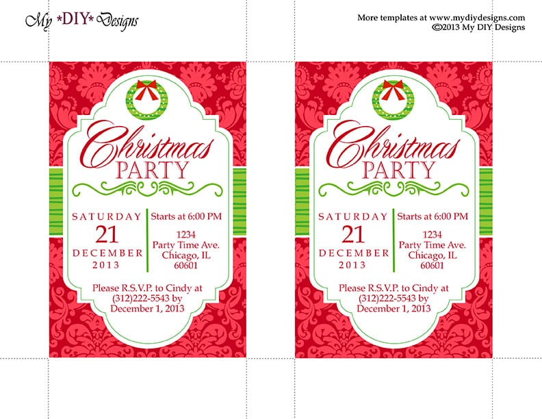 Christmas Invitation Template Word