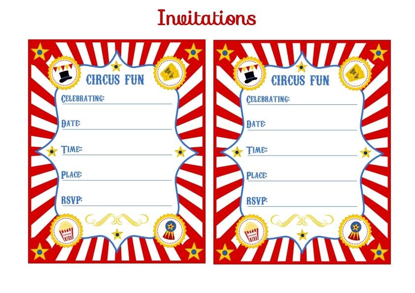 Circus Birthday Invitations Templates