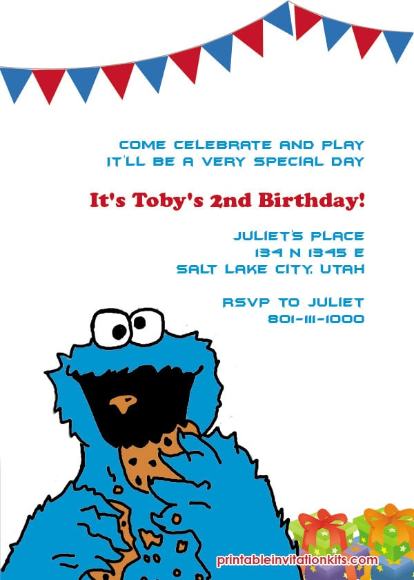Cookie Monster Invitation Template