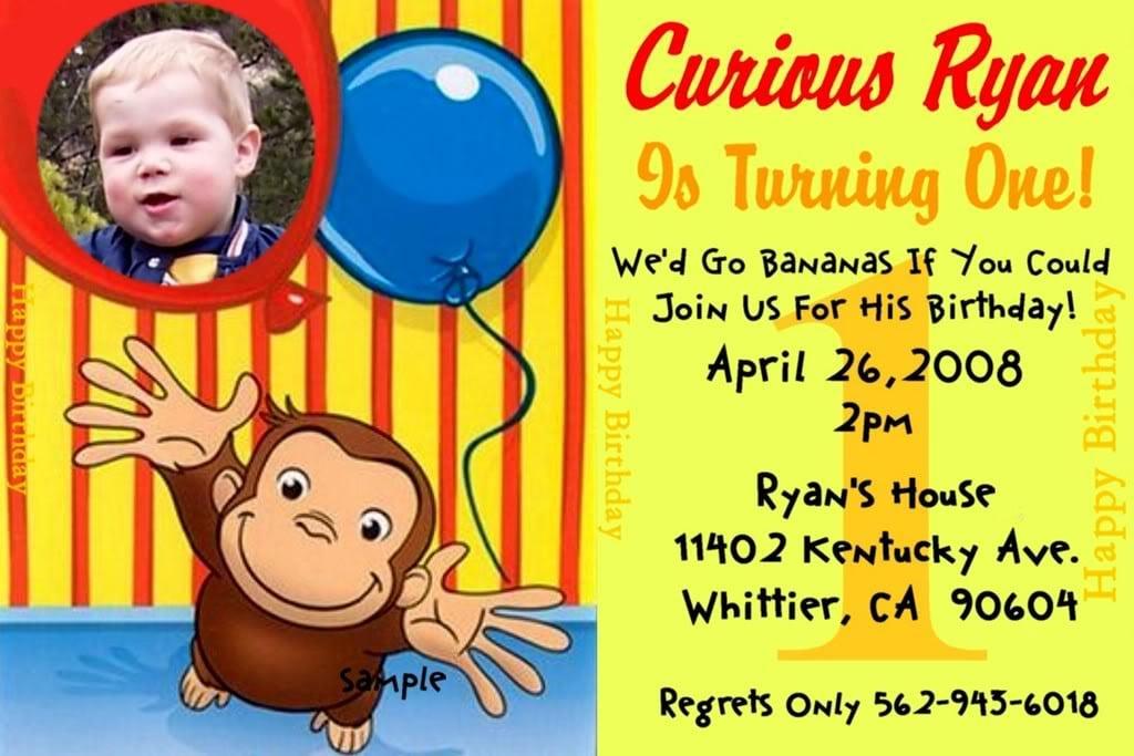 Curious George Invitation