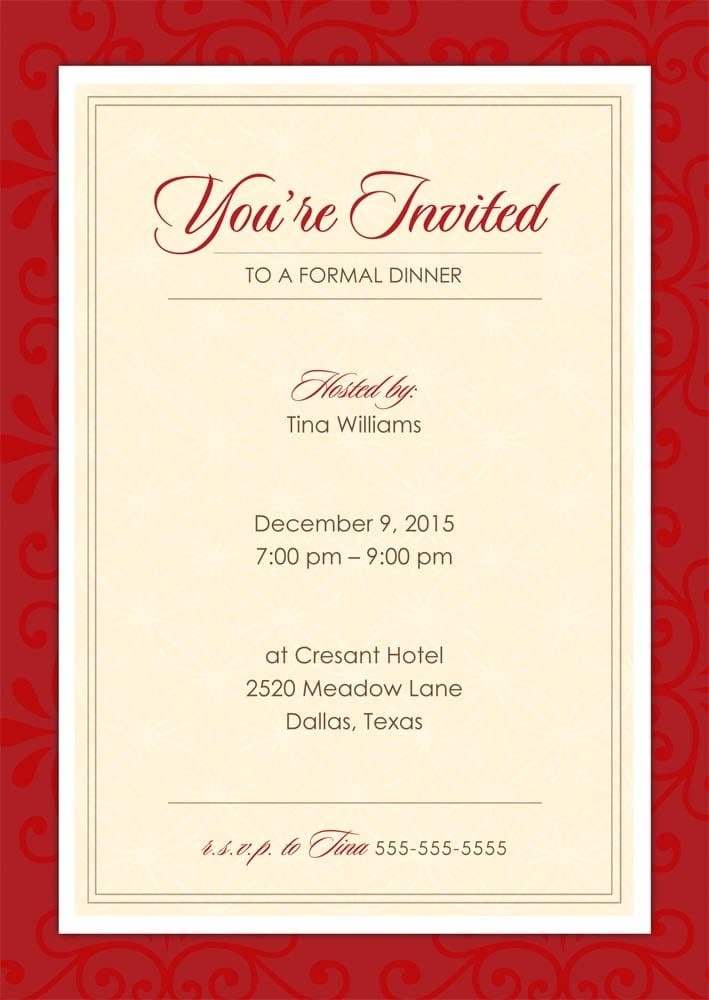 Dinner Invitation Sample Card