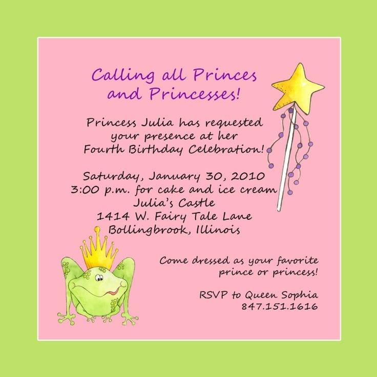 Disney Princess Invitation Wording