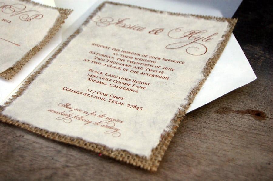 Diy Rustic Wedding Invitation