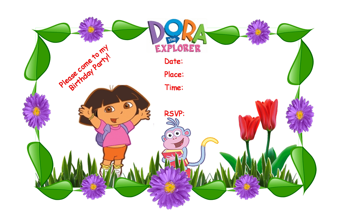 Dora The Explorer Invitation Template