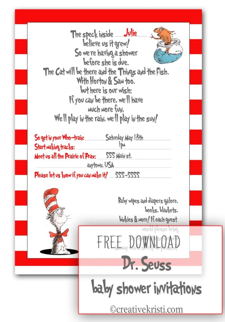 Dr Seuss Baby Shower Invitation Template Free