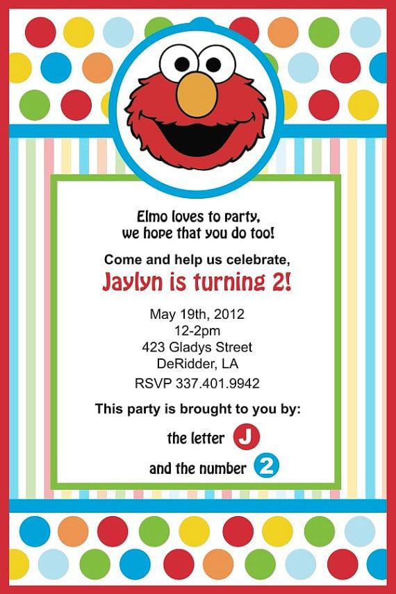 Elmo Birthday Invitations