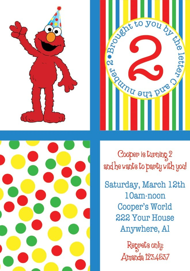 Elmo Birthday Invitations Template Free