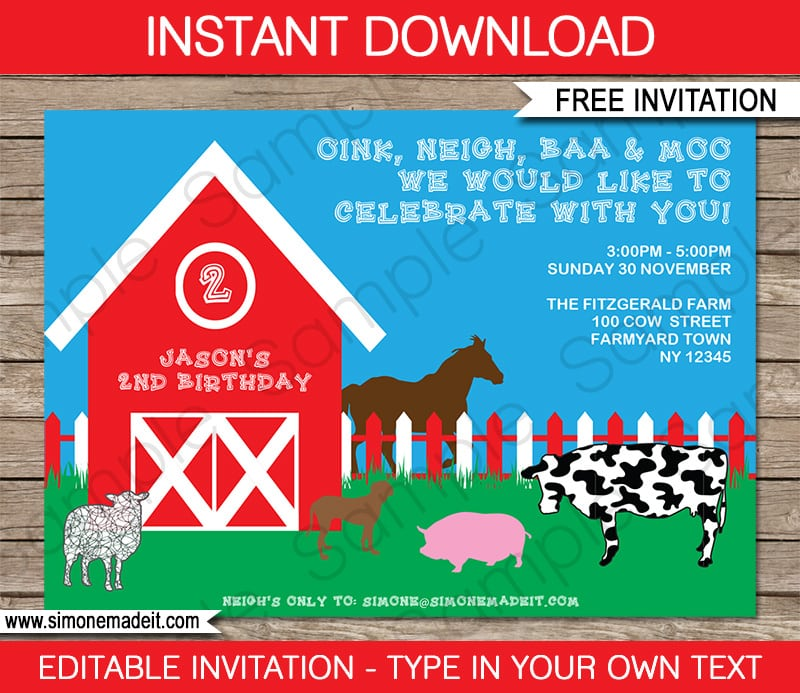 Farm Birthday Invitation Templates Free