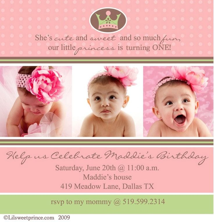 First Birthday Invitation Girl Wording