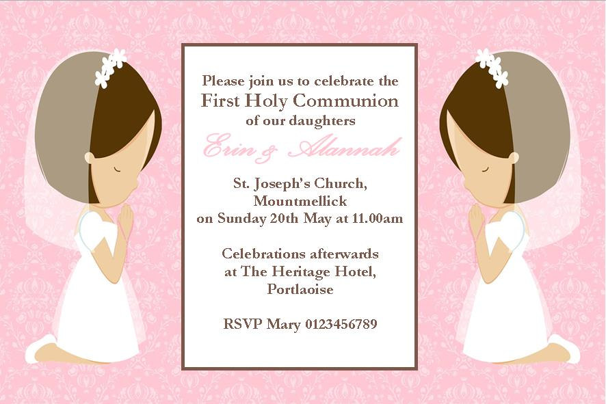 First Communion Invitation For Girls