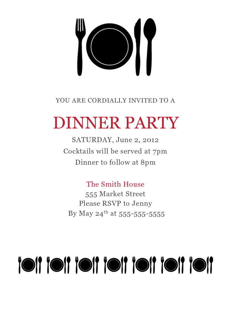 Dinner Invitation Template Upfashiony, Party Invitations  Dinner Invitation Template