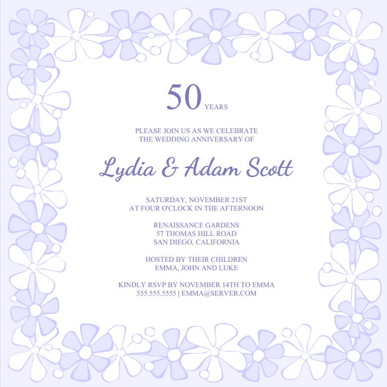 Free Invitation Templates 50th Wedding Anniversary