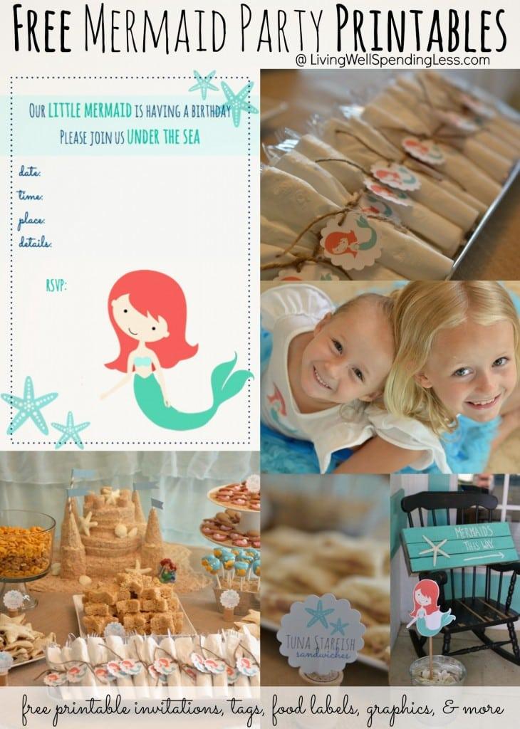 Free Mermaid Printable Invitation