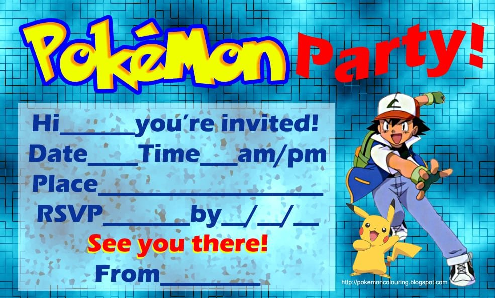 Free Pokemon Invitation Template