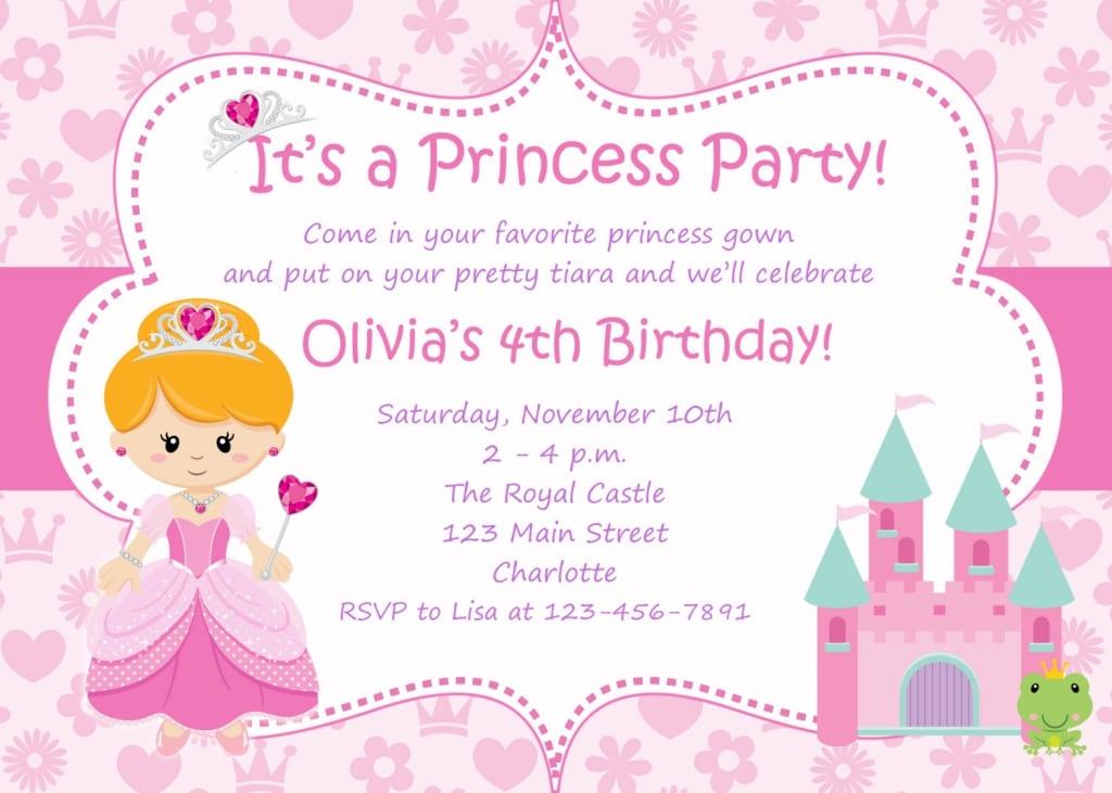 Free Princess Birthday Party Invitations