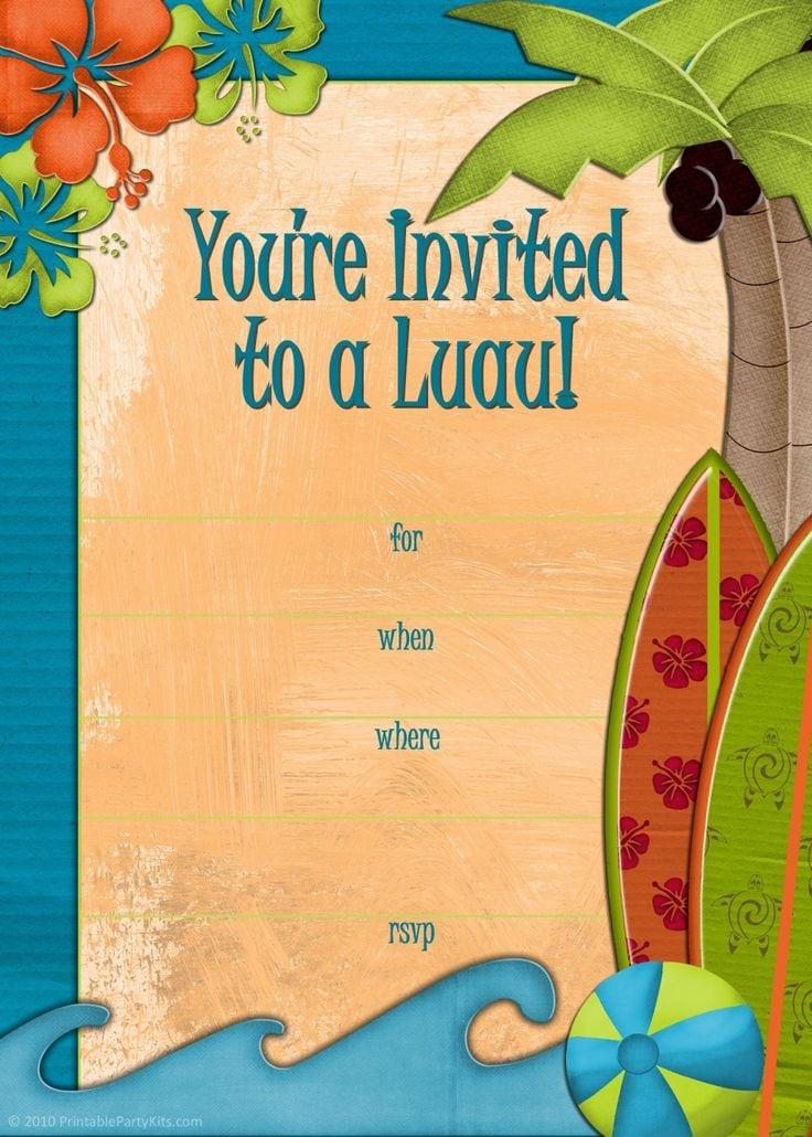 Free Printable Luau Birthday Invitations