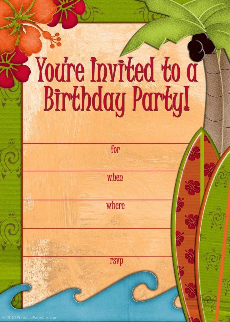 Free Printable Luau Invitation