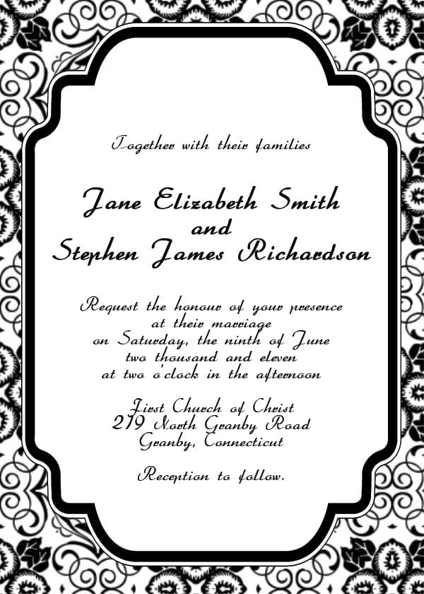 Free Wedding Invitation Templates To Print