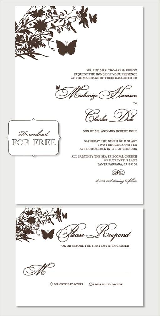 Free Wedding Invitation Templates Word
