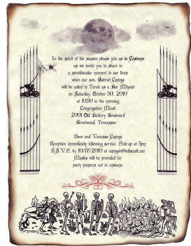 Halloween Wedding Invitation Wording