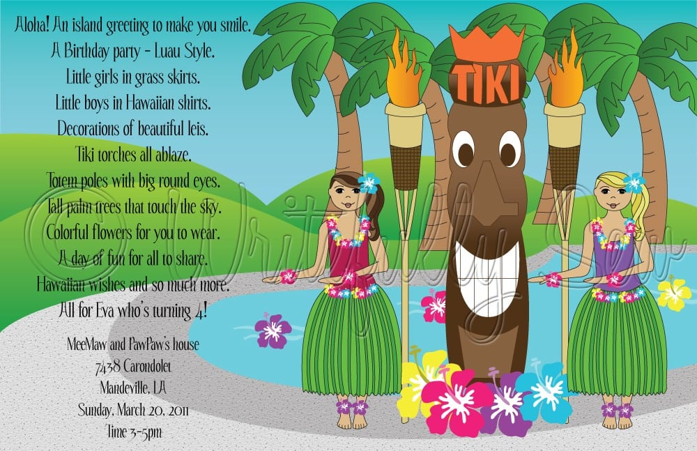 Hawaiian Party Invitation Wording