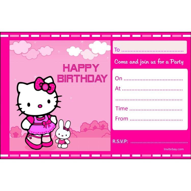 Hello Kitty Birthday Invitation Card