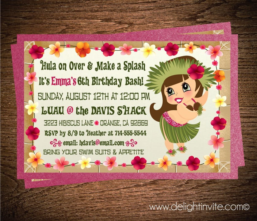 Hello Kitty Hawaiian Party Invitations