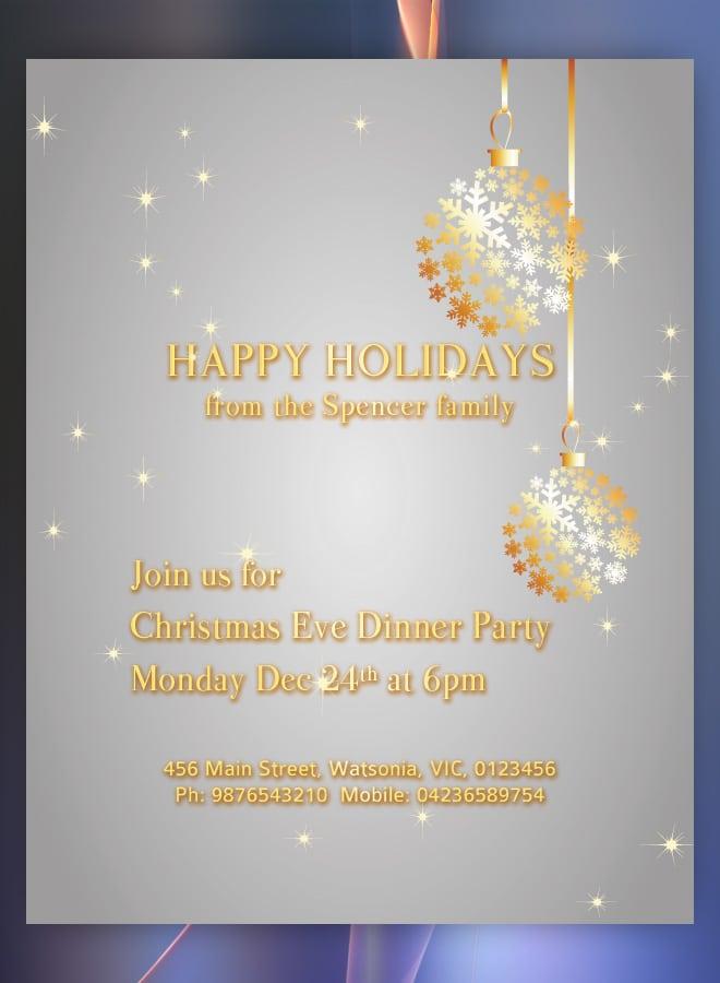 Holiday Potluck Invitation Template